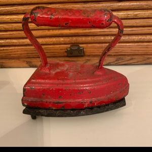 Vintage Cast Iron Red iron clothes press